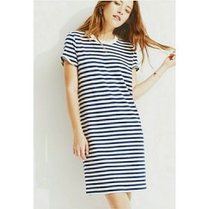 Lou & Grey Linen Blue White Stripe T Shirt Dress M
